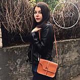 Женская небольшая сумка через плече коричневая, фото 3