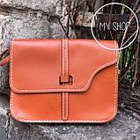Женская небольшая сумка через плече коричневая, фото 4