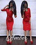 Женское платье из костюмки с поясом, фото 2