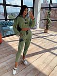 Женский  Костюмчик с нашивками, укороченная кофта + штаны, фото 7