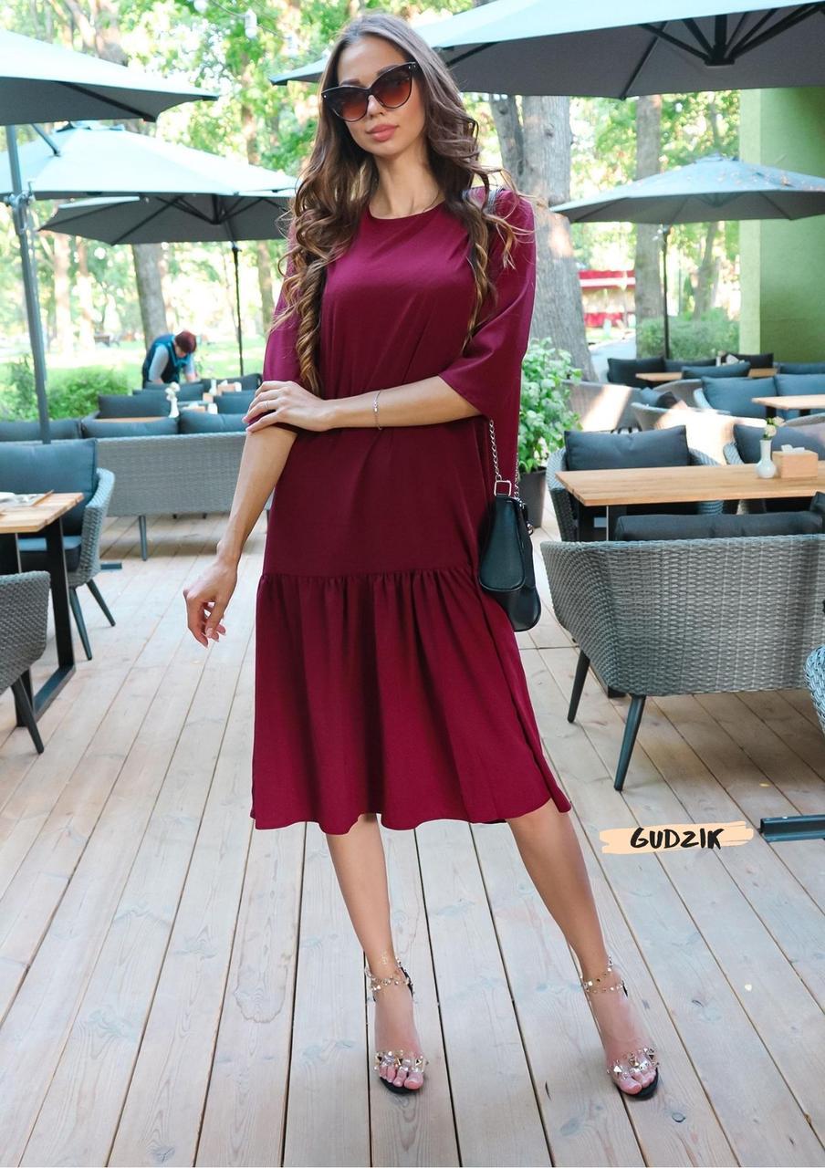 Женское платье оверсайз миди красивого цвета фуксия