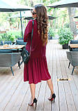 Женское платье оверсайз миди красивого цвета фуксия, фото 3