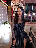 Женское Блестящее платье  макси с разрезом, фото 4