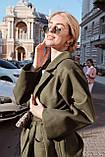Пальто на запах под пояс., фото 4