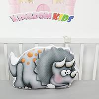 """Игрушка-подушка """"Динозавр"""" в сером цвете с хлопковым велюром на задней стенке"""