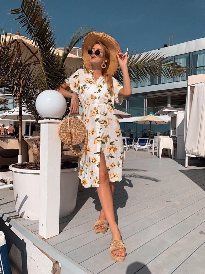 Женское летнее нежное платье из шелка