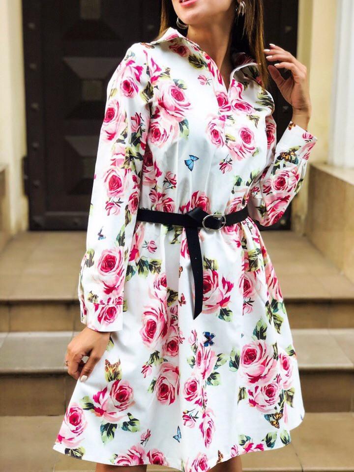 Женское повседневное нежное платье из коттона в принт