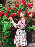 Женское повседневное нежное платье из коттона в принт, фото 3