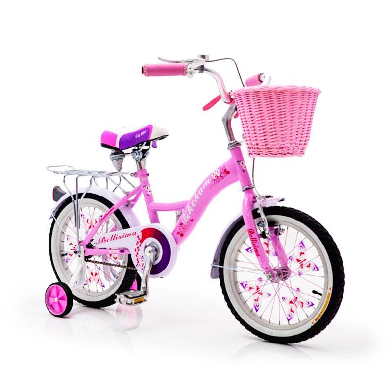 """Городской Детский Велосипед Для девочки с корзинкой 16 """"BELLISIMA""""  Алюминиевый Розовый"""