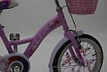 """Городской Детский Велосипед Для девочки с корзинкой 16 """"BELLISIMA""""  Алюминиевый Розовый, фото 4"""