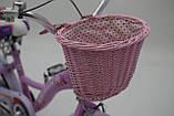 """Городской Детский Велосипед Для девочки с корзинкой 16 """"BELLISIMA""""  Алюминиевый Розовый, фото 6"""