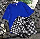 Женский костюм футболка с шортами  с поясом, фото 7