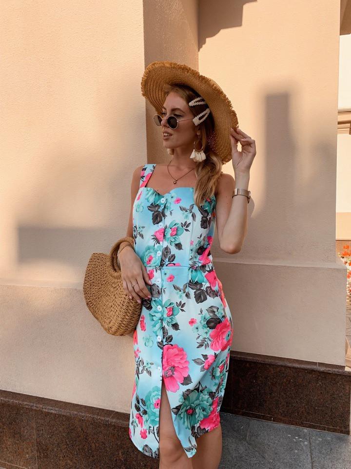Женское летнее яркое платье Цветы