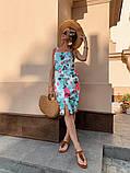 Женское летнее яркое платье Цветы, фото 4