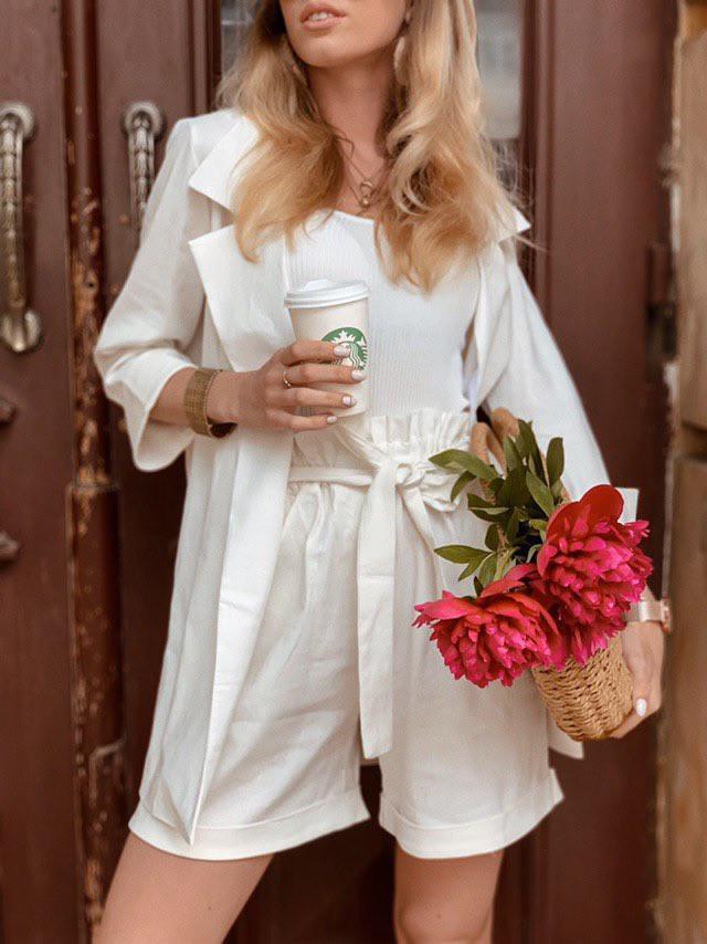 Женский костюм жакет с шортами  из льна