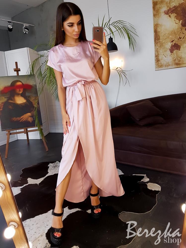 Шелковое платье с ассиметричной юбкой