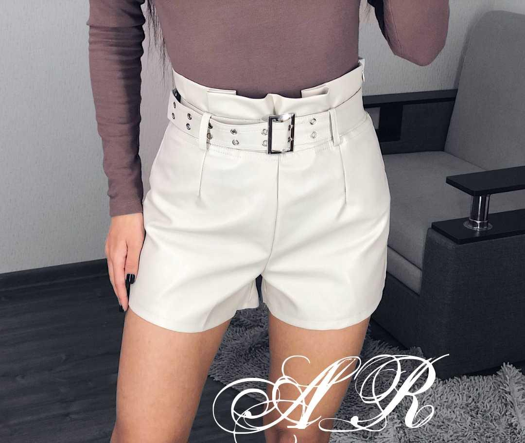 Женские стильные шортики из эко кожи