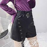 Женские стильные шортики из эко кожи, фото 3