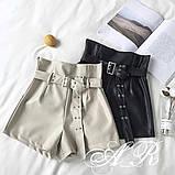 Женские стильные шортики из эко кожи, фото 5