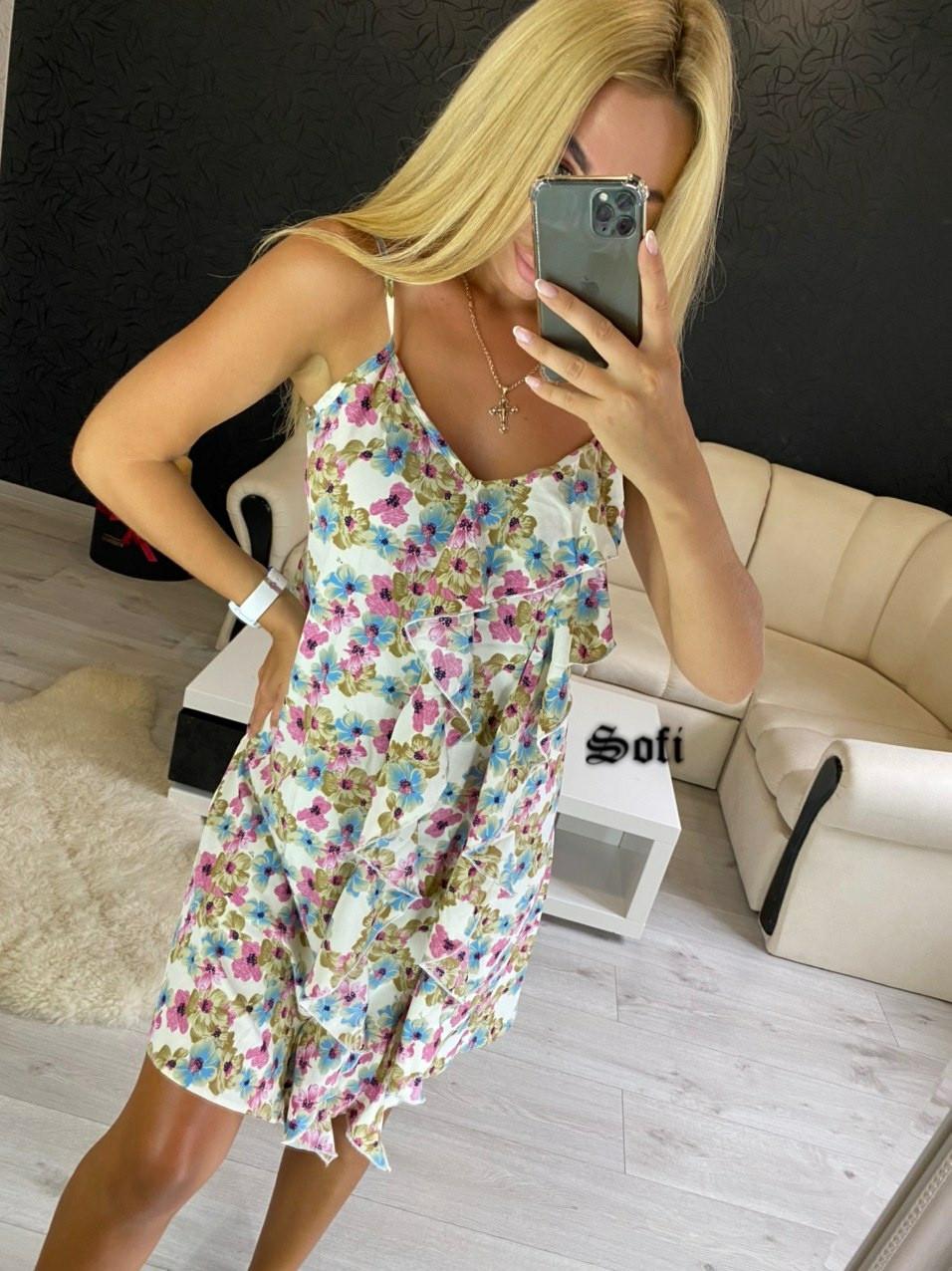 Женское платье летнее в цветочный принт с рюшами