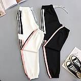 Женские идеальные джоггеры с пудровыми полосками, на резинке, фото 3