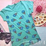 Женская футболка с принтом мороженого, фото 2