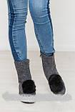 Стильні жіночі валянки з валяної вовни з помпонами, фото 2