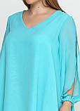 Женская туника голубая из шифона с разрезами на плечах, фото 5