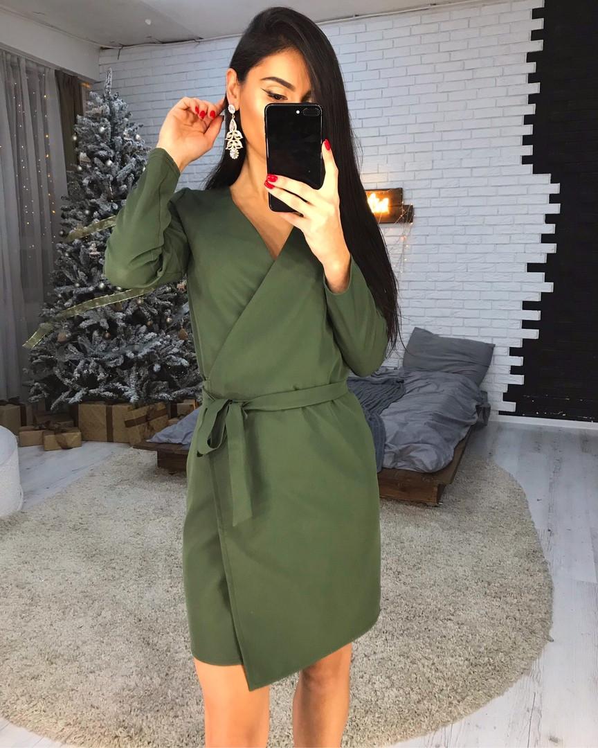 Стильное платье на запах из креп-костюмки люкс качества