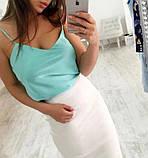 Женская шелковая майка топ на тонких бретелях без кружева, фото 6