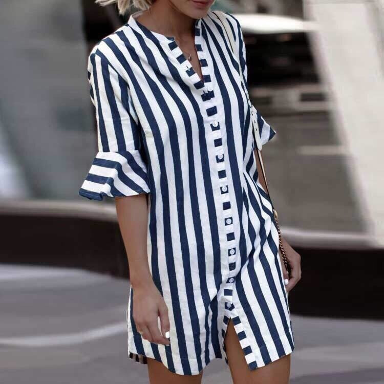 Женский нежный сарафан-рубашка на пуговицах