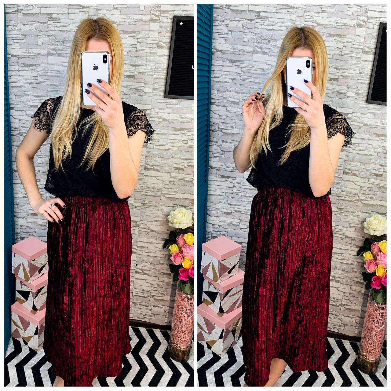 Женская юбка бархат плиссе гофре бордо миди