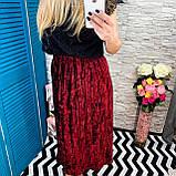 Женская юбка бархат плиссе гофре бордо миди, фото 2