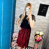 Женская юбка бархат плиссе гофре бордовая по колено, фото 3