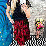 Женская юбка бархат плиссе гофре бордовая по колено, фото 4