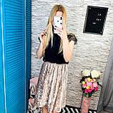 Женская юбка бархат плиссе гофре бежевая по колено, фото 3