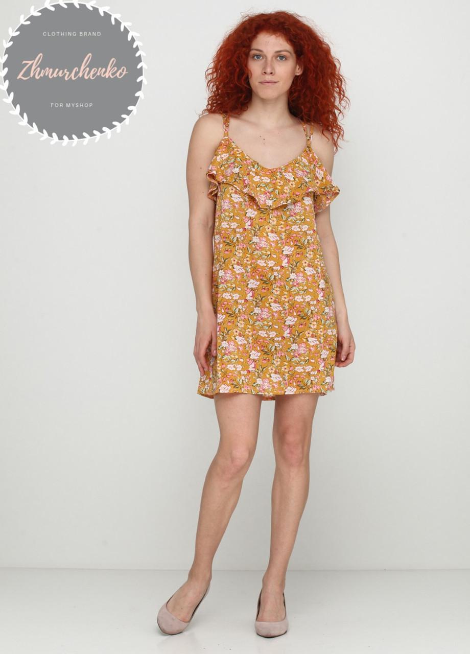 Женское легкое нежное  платье  в цветочный принт на бретельках