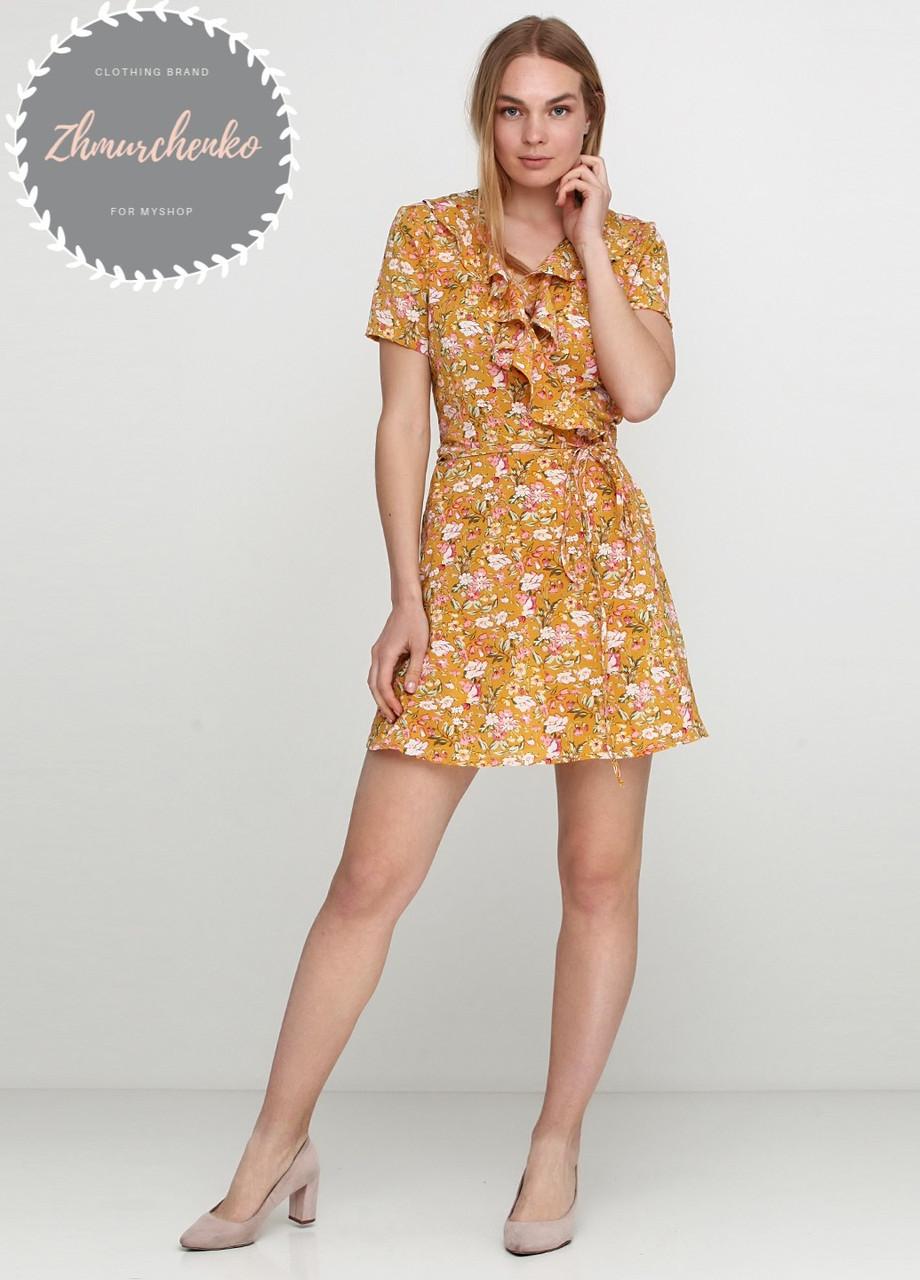 Женское легкое нежное  платье  на запах с рюшей в мелкий принт