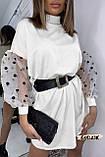 Женское платье оверсайз с пышными рукавами органза в мушку, фото 3