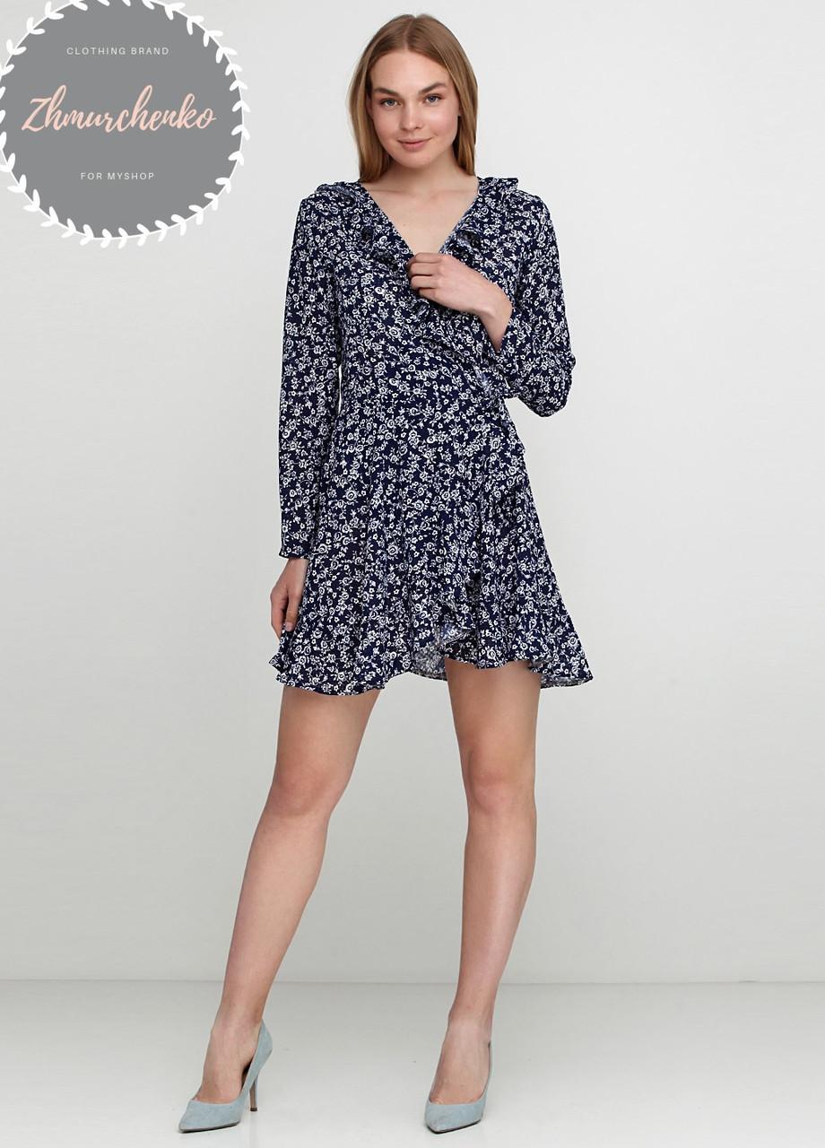 Женское легкое нежное  платье  на запах с воланом в цветочный принт