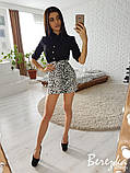 Модный женский костюм с юбкой из микроплюша, фото 2