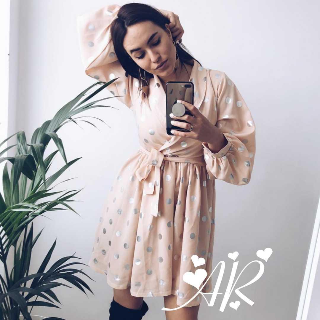 Модное нежное женское платье в горошек