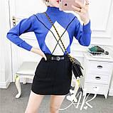 Женская юбка мини из фетра с поясом, фото 2
