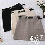 Женская юбка мини из фетра с поясом, фото 7