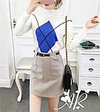 Женская юбка мини из фетра с поясом, фото 8