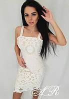 Модное красивое женское платье из набивного кружева