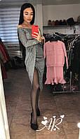 Модное красивое женское платье из трикотажа с блестками