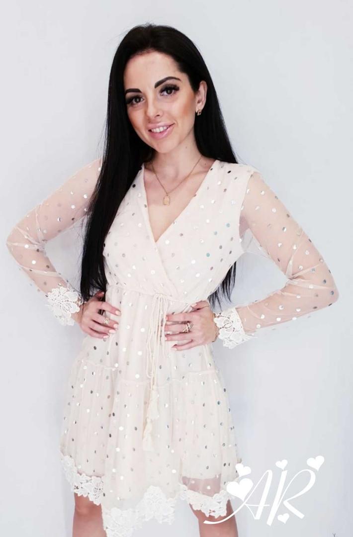 Модное красивое женское  платье мв серебряный горох