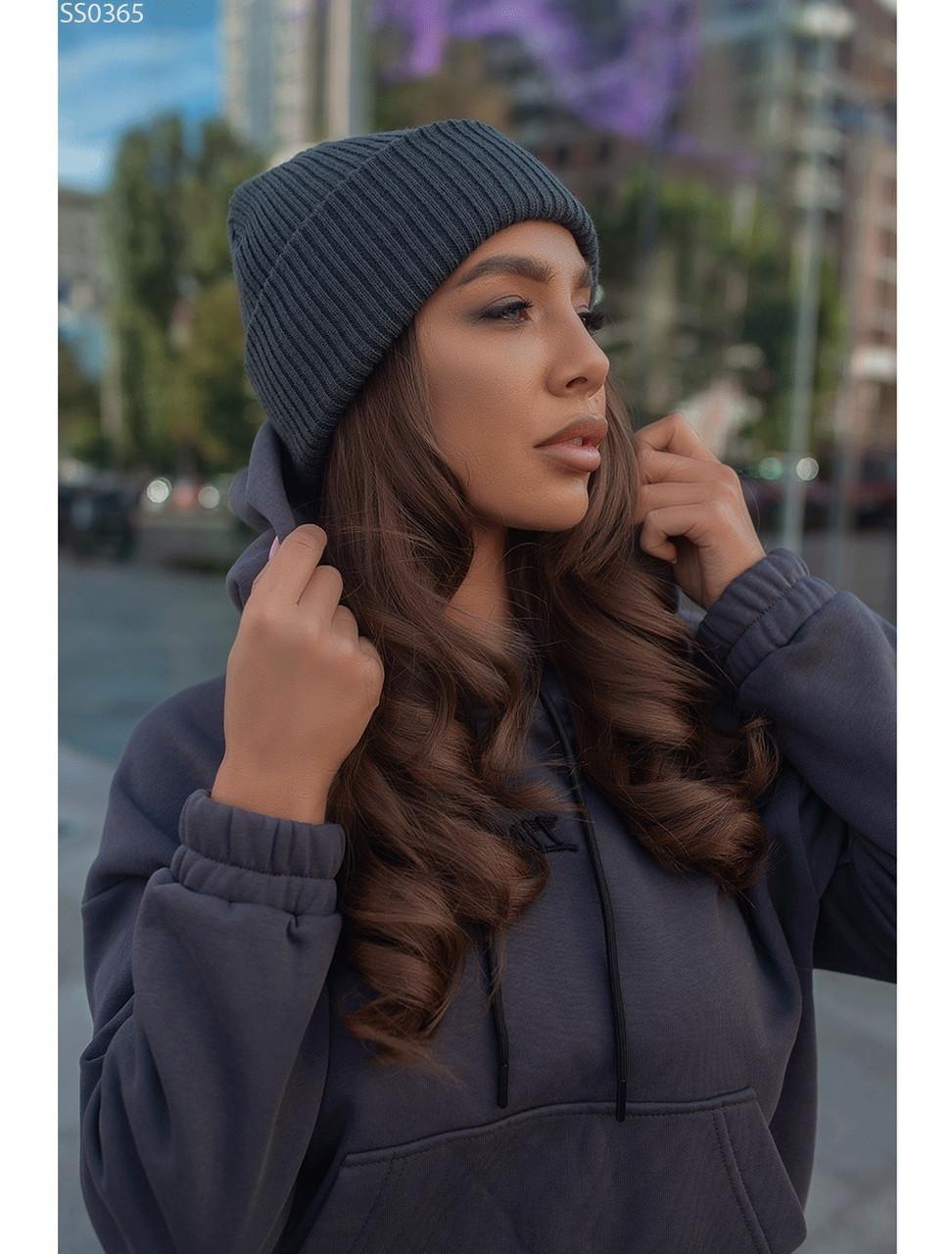 Женская шапка Staff dark gray