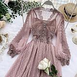 Женское невероятно красивое гипюровое платье в горошек со вставками кружева, фото 2